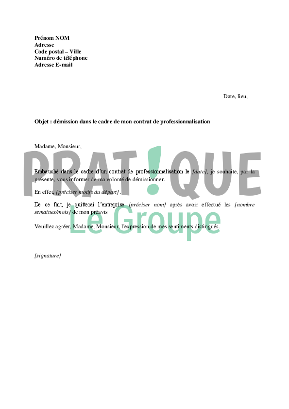 lettre de démission contrat pro Lettre de démission dans le cadre d'un contrat de  lettre de démission contrat pro