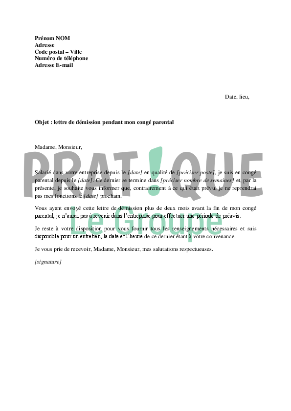 lettre de d u00e9mission pendant mon cong u00e9 parental