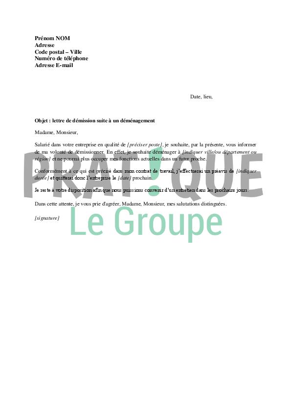 lettre de demission cause demenagement Lettre de démission pour cause de déménagement | Pratique.fr lettre de demission cause demenagement