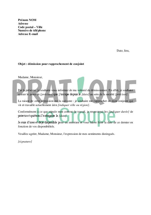 Lettre de démission pour se rapprocher de son conjoint | Pratique.fr
