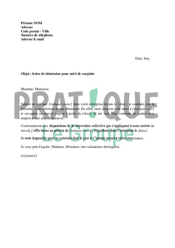 Démission pour suivi de conjoint   Modèle de lettre