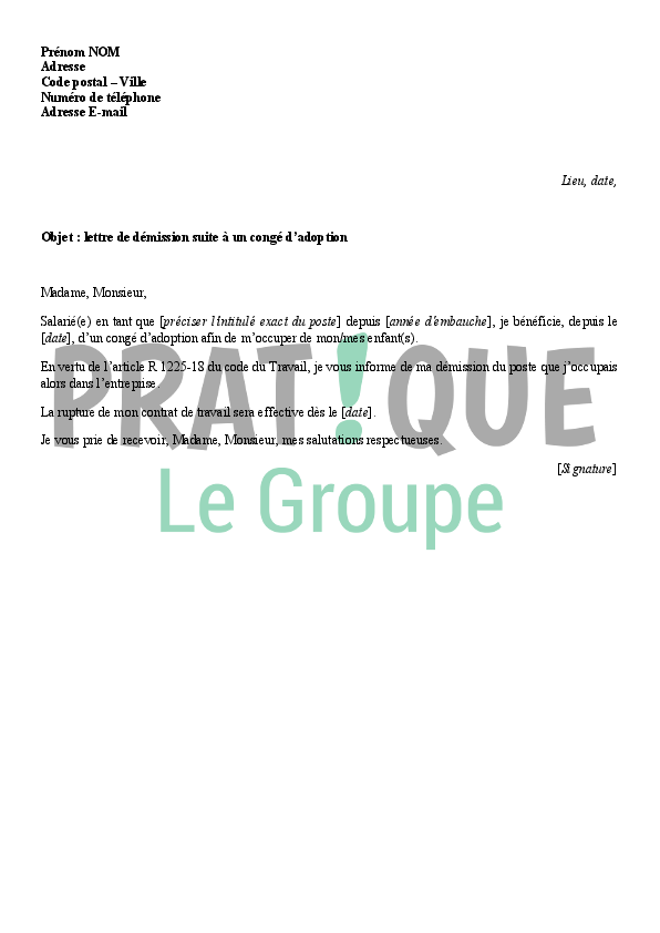 lettre de demission en congé parental Lettre de démission suite à un congé d'adoption | Pratique.fr lettre de demission en congé parental