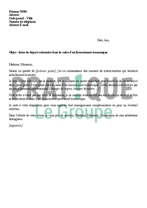 Lettre De Depart Volontaire Dans Le Cadre D Un Licenciement
