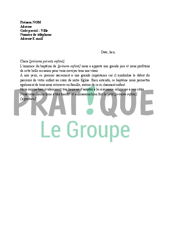 modele lettre pour bapteme Lettre de félicitation : baptême religieux | Pratique.fr modele lettre pour bapteme