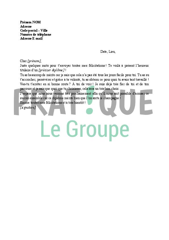 lettre de f u00e9licitations pour obtention d u0026 39 un dipl u00f4me