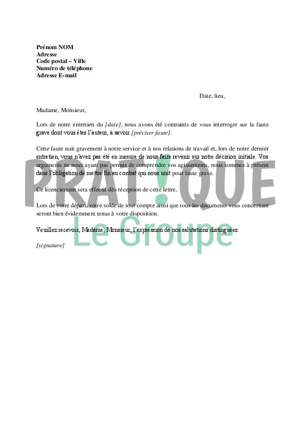 Lettre De Licenciement D Un Salarie Pour Faute Grave Pratique Fr