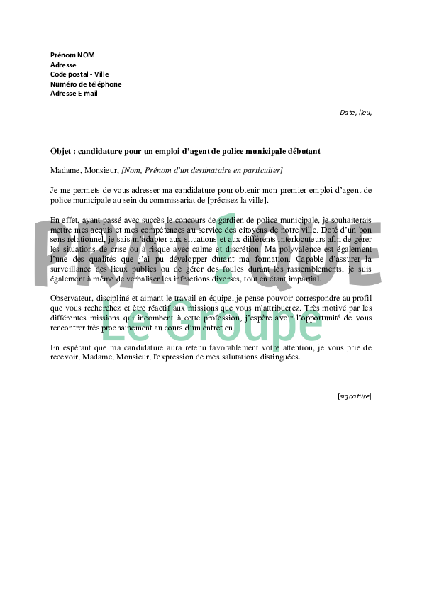 lettre de motivation  emploi d u2019agent de police municipale
