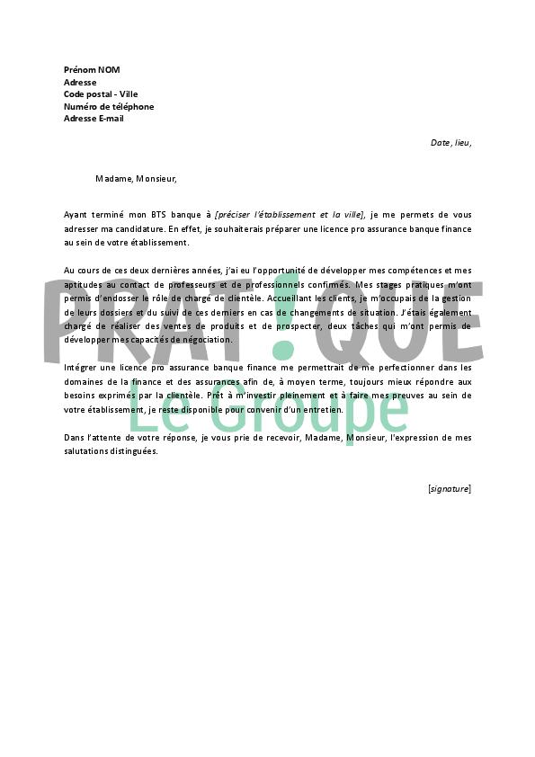lettre de motivation pour une licence pro assurance banque