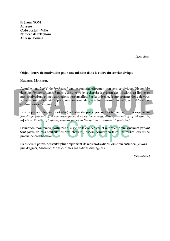 exemple cv service civique