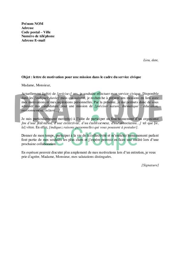 Lettre de motivation dans le cadre du service civique | Pratique.fr