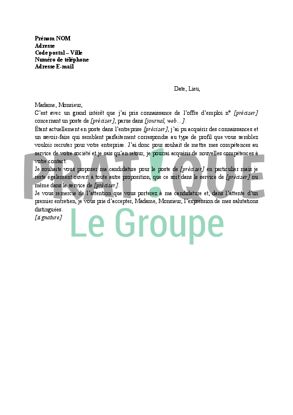 lettre de motivation pdf pole emploi
