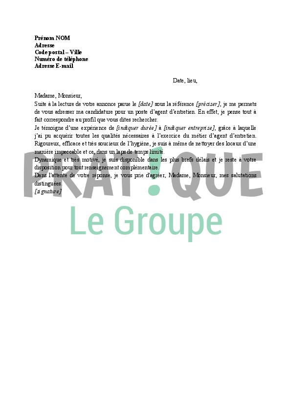 Lettre De Motivation Pour Agent D Entretien Pratique Fr