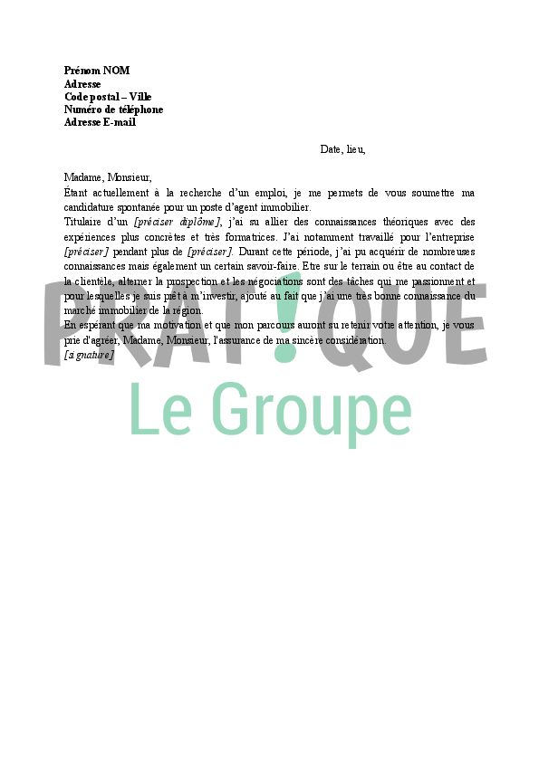 modele lettre de motivation negociateur immobilier