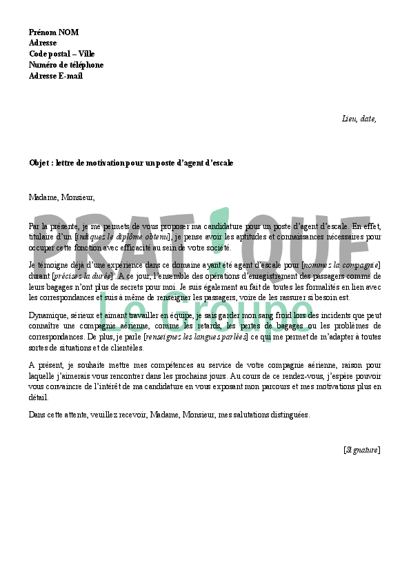 lettre de motivation pour devenir agent d u0026 39 escale
