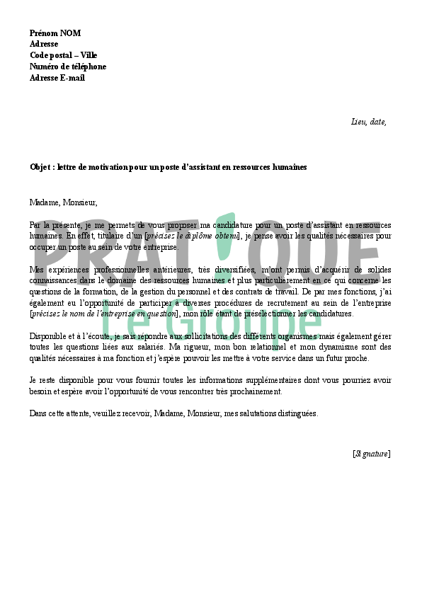 lettre de motivation pour devenir assistant en ressources