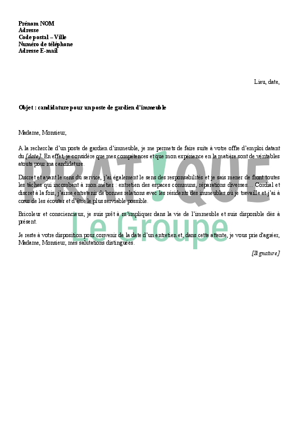 application letter sample  modele de lettre de motivation gardien d u0026 39 immeuble