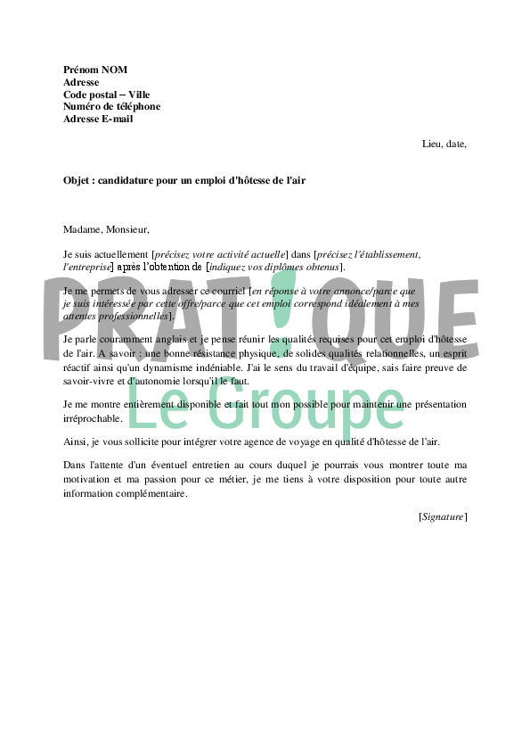 lettre de motivation pour devenir h u00f4tesse de l u0026 39 air