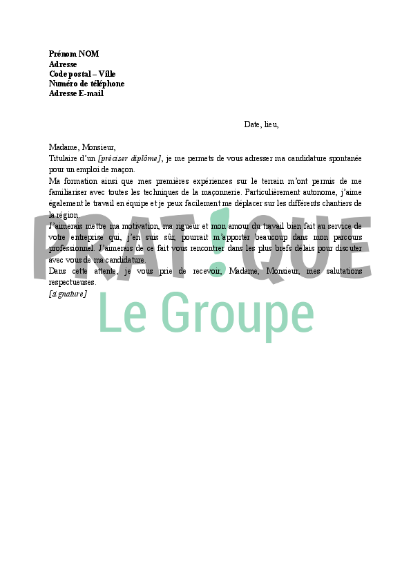 lettre de motivation pour devenir ma u00e7on  candidature spontan u00e9e