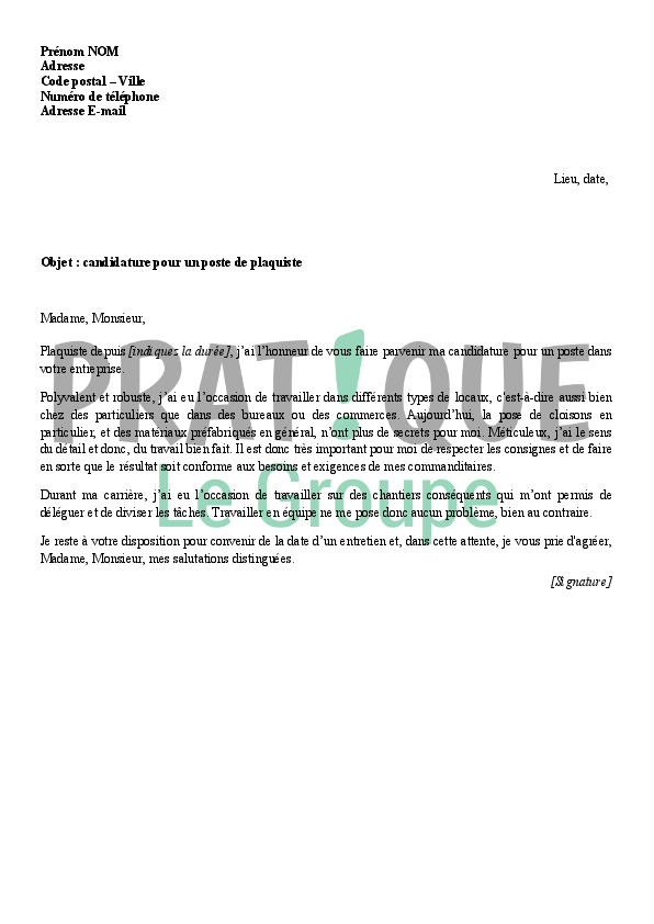 lettre de motivation pour devenir plaquiste