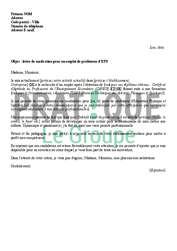 lettre de motivation pour devenir professeur d u0026 39  u00e9ducation