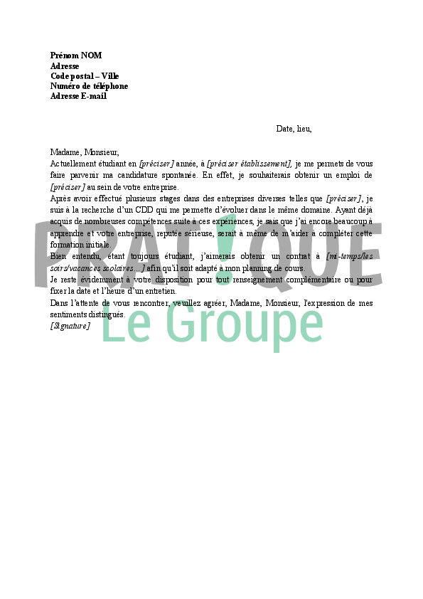lettre de motivation pour job  u00e9tudiant en candidature spontan u00e9e
