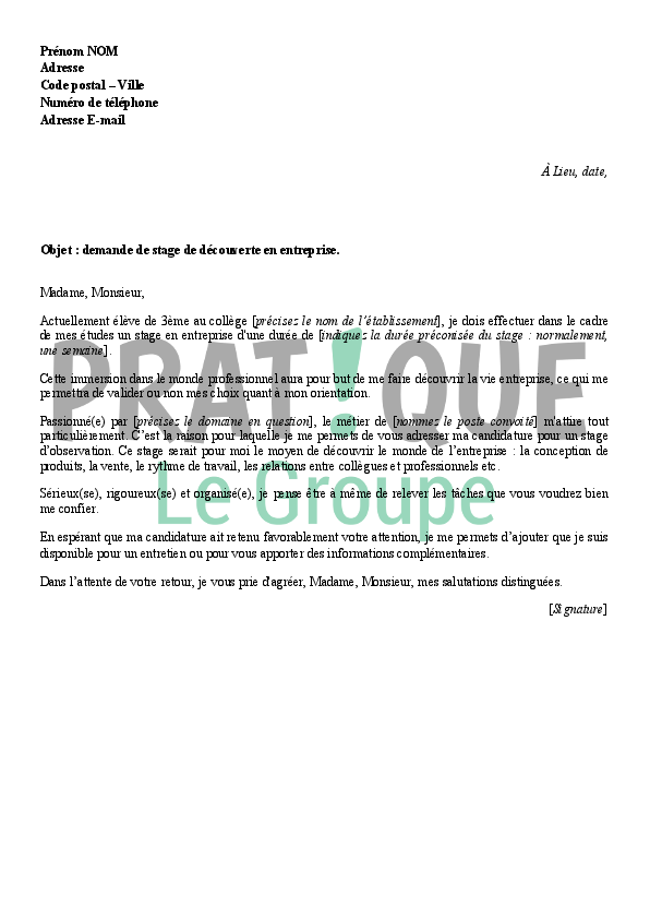modele lettre de motivation pour un stage d u0026 39 observation