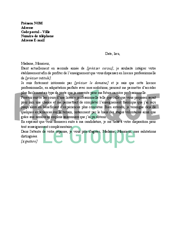 exemple lettre de motivation licence pro