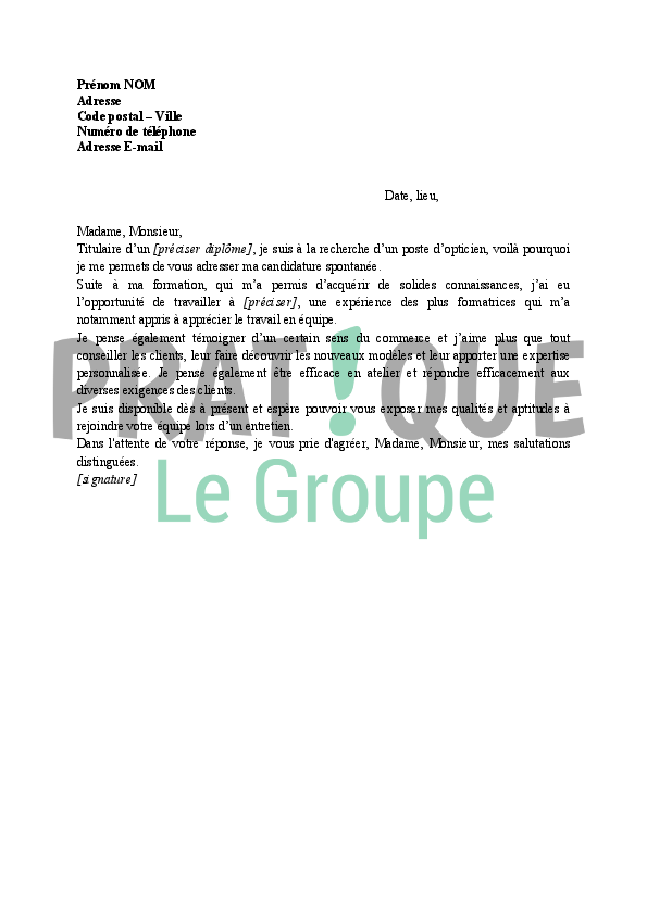 lettre de motivation pour opticien en candidature spontan u00e9e