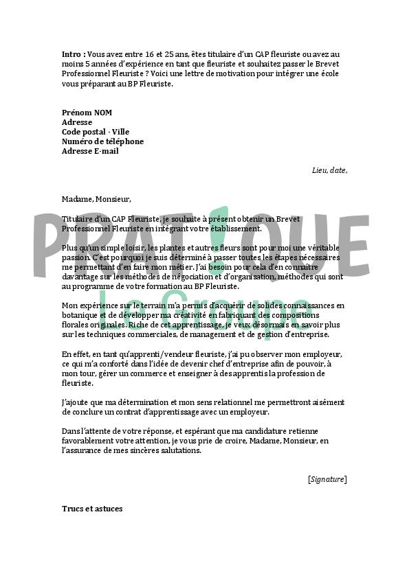 lettre de motivation pour un brevet professionnel de fleuriste