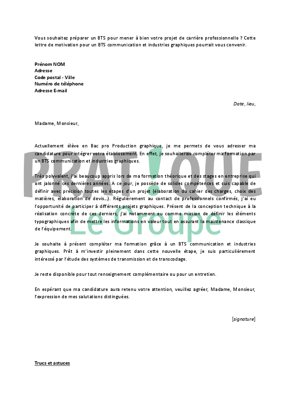 bts communication lettre de motivation Lettre de motivation pour un BTS communication et industries  bts communication lettre de motivation