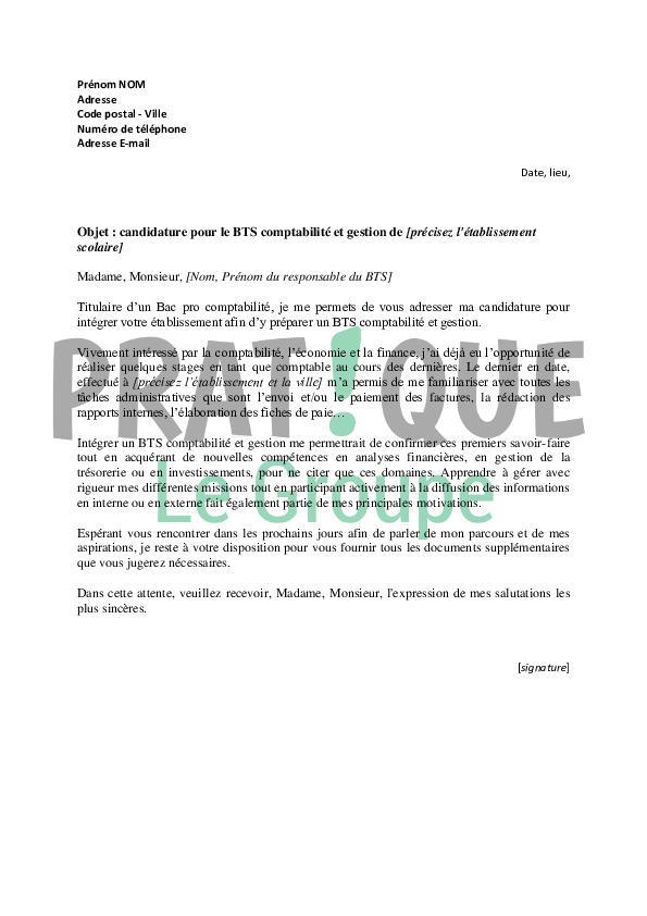 lettre de motivation pour un bts comptabilit u00e9 et gestion