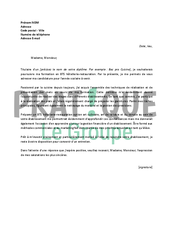 Lettre De Motivation Ecole Hotellerie Restauration Images - Lettre de motivation cuisine