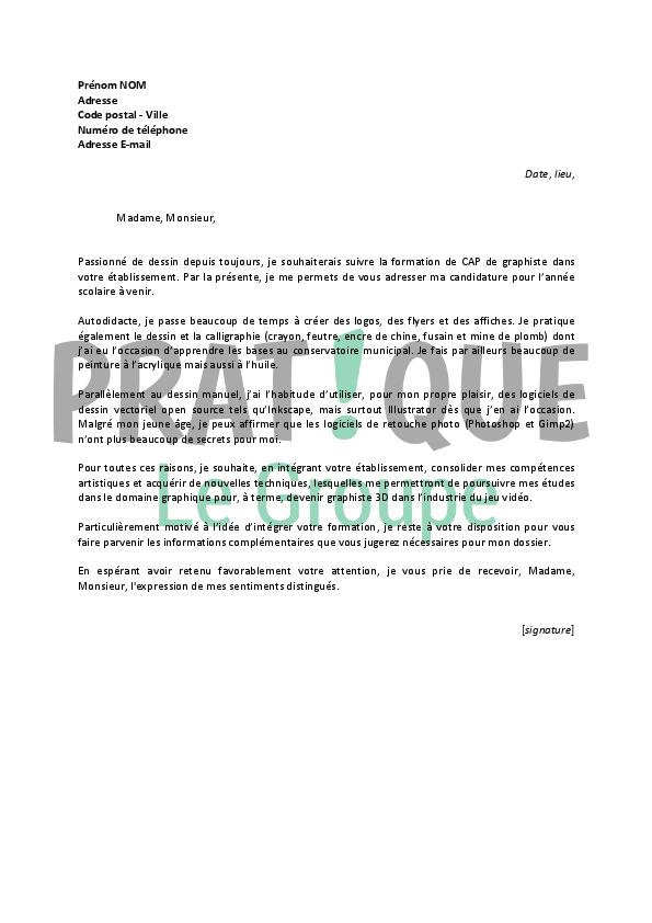 Lettre De Motivation Pour Un Cap Graphiste Pratique Fr