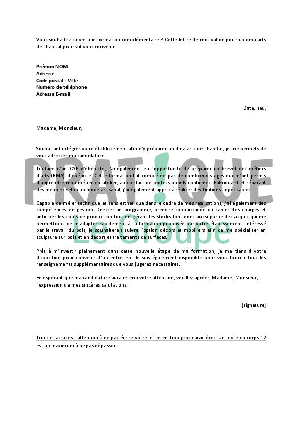lettre de motivation pour un dma arts de l u2019habitat