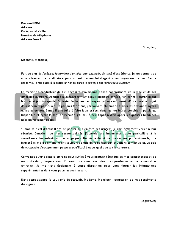 lettre motivation chauffeur transport scolaire