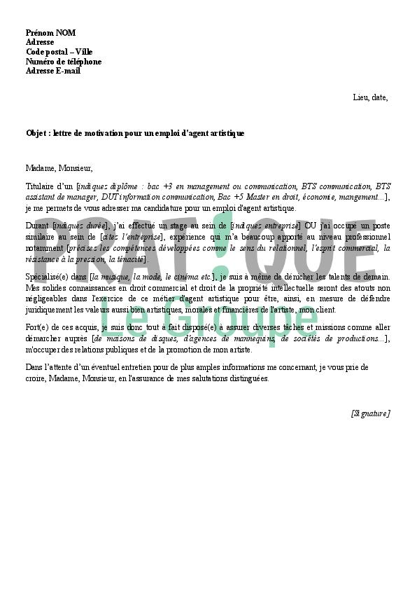 lettre de motivation pour un emploi d u0026 39 agent artistique