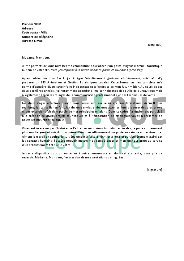 exemple lettre de motivation hotesse d u0026 39 accueil debutant