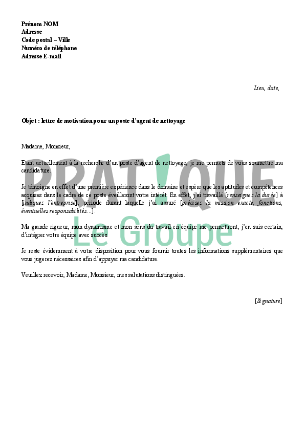 lettre de motivation agent de proprete