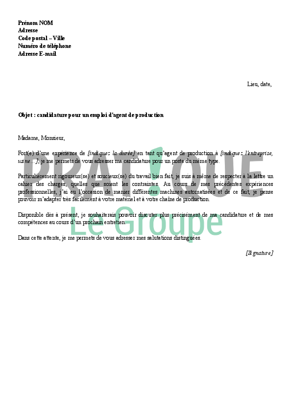 exemple lettre de motivation agent de production