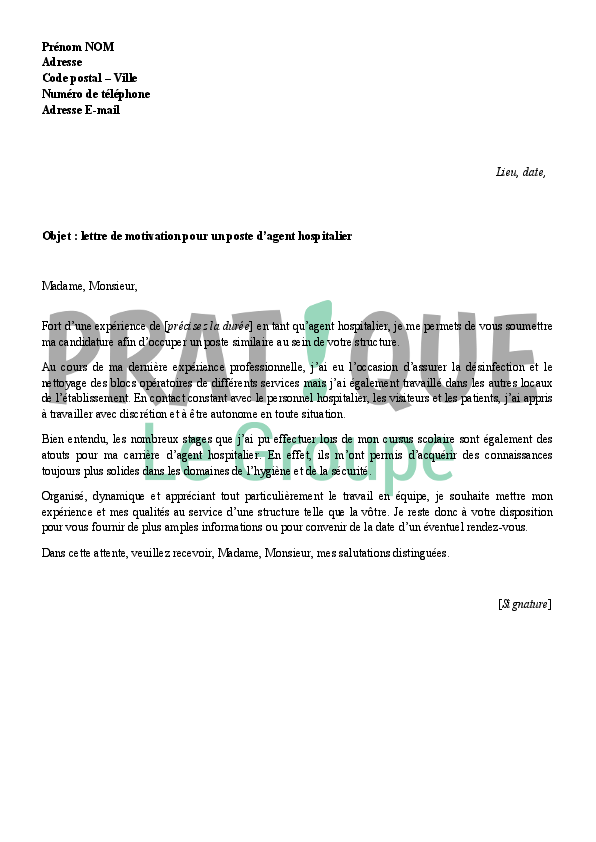 exemple lettre de motivation agent hospitalier Lettre de motivation pour un emploi d'agent de service hospitalier  exemple lettre de motivation agent hospitalier