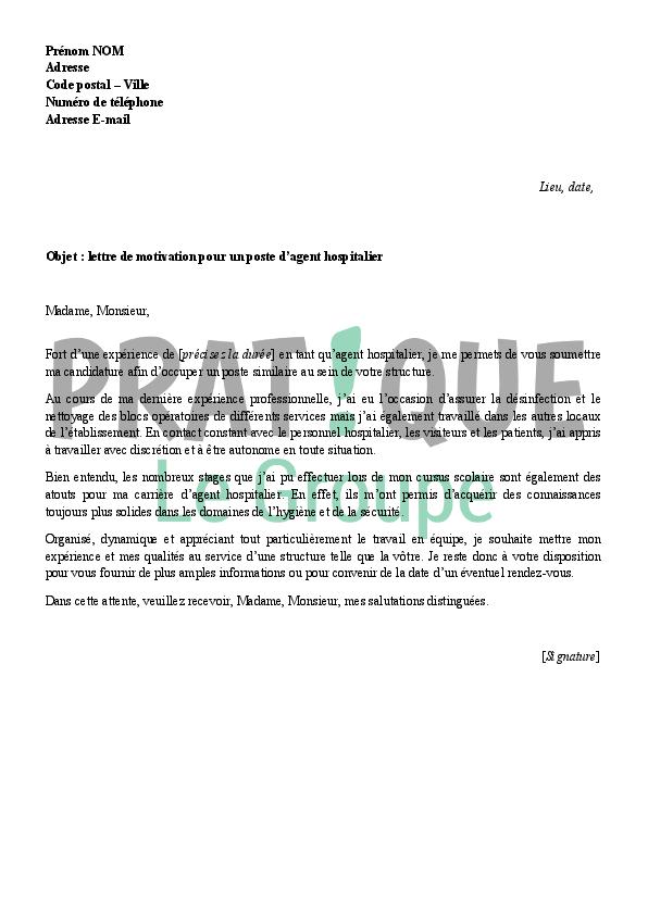 lettre de motivation pour un emploi d u0026 39 agent de service hospitalier