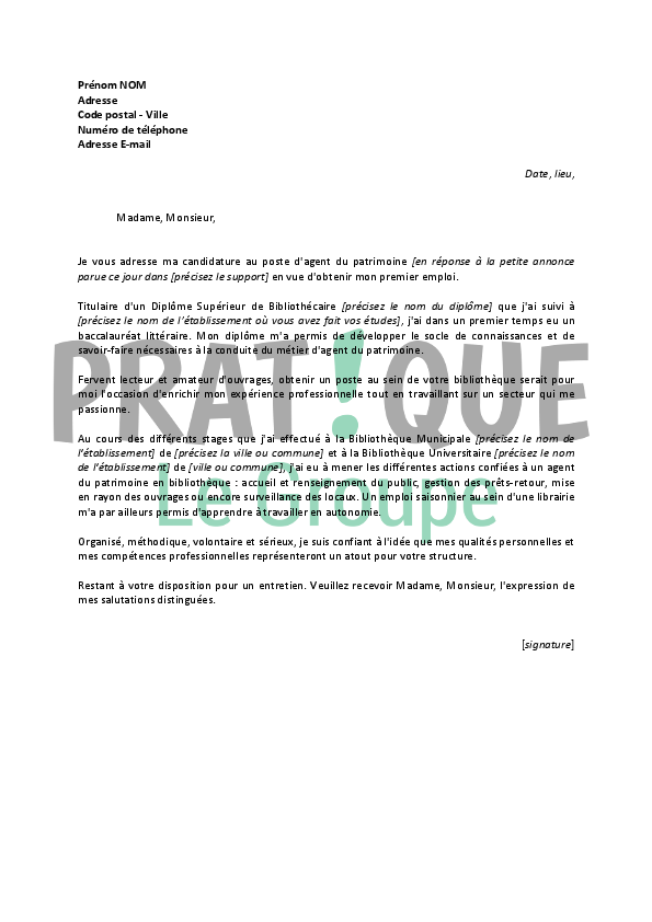 lettre de motivation agent bibliotheque