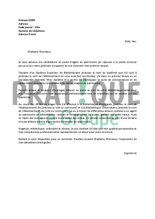 lettre de motivation pour un emploi d u0026 39 agent du patrimoine d u00e9butant