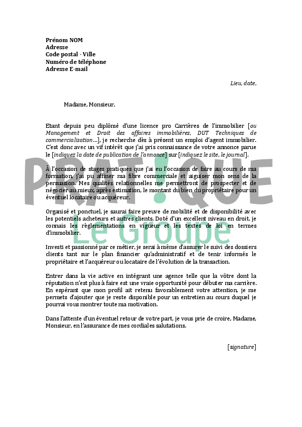 modele lettre motivation negociateur immobilier debutant