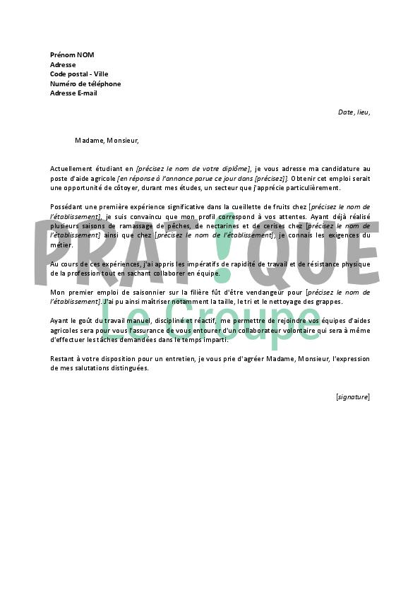 lettre de motivation pour un emploi d u0026 39 aide agricole  job