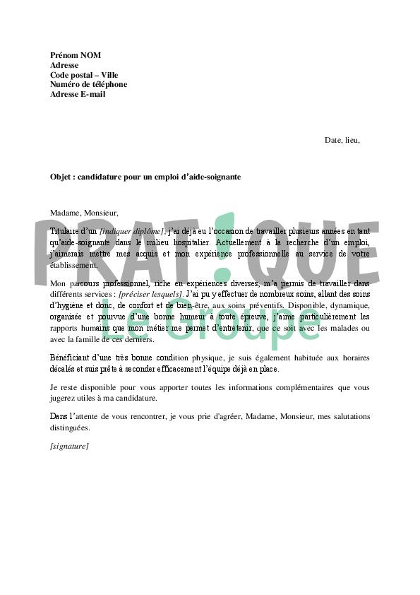Lettre de motivation pour un emploi d'aide soignante | Pratique.fr