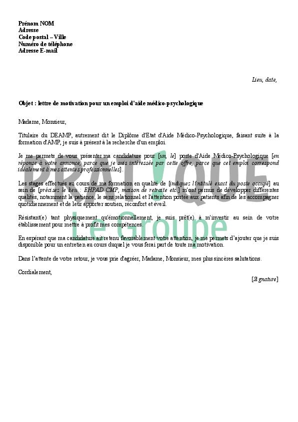 lettre de motivation pour un emploi d u0026 39 amp