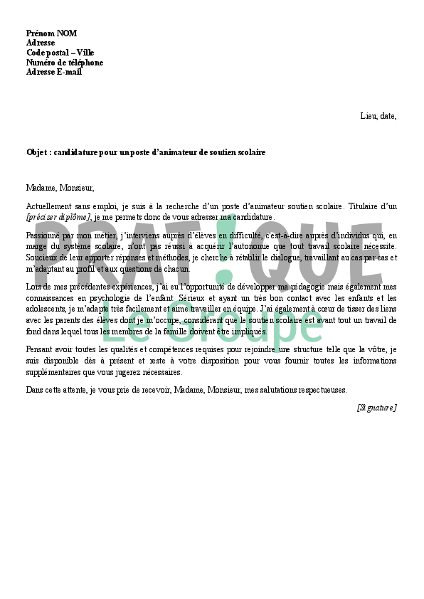 lettre de motivation pour un emploi d u0026 39 animateur de soutien scolaire