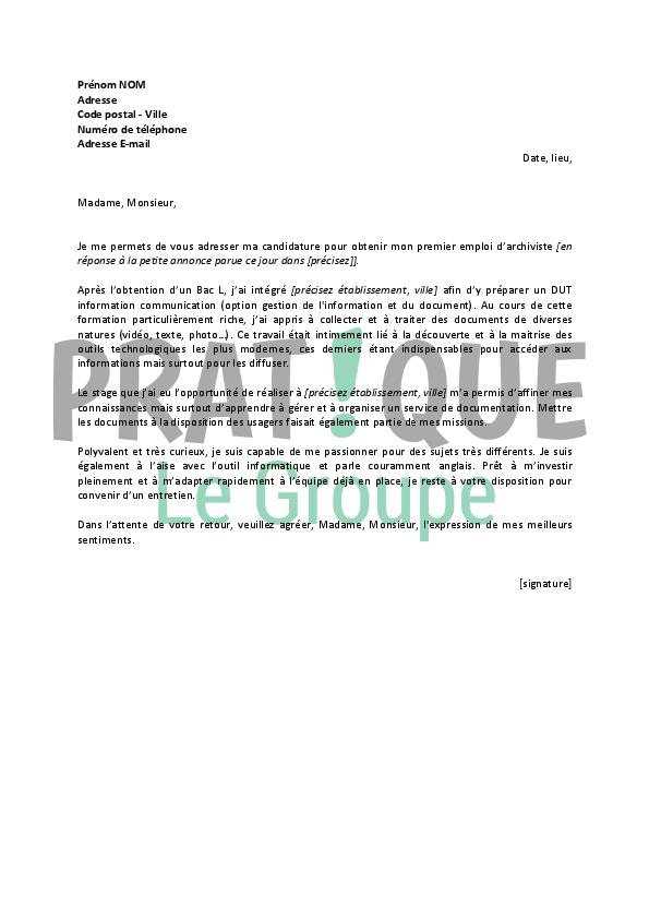 lettre de motivation pour un emploi d archiviste d 233 butant pratique fr