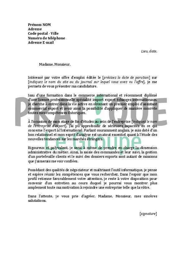 lettre de motivation pour un emploi d u0026 39 assistant commercial export d u00e9butant